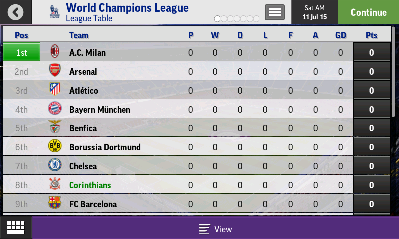 FMM 16 World Champions League ANDROID - Football Manager Mobile 2016