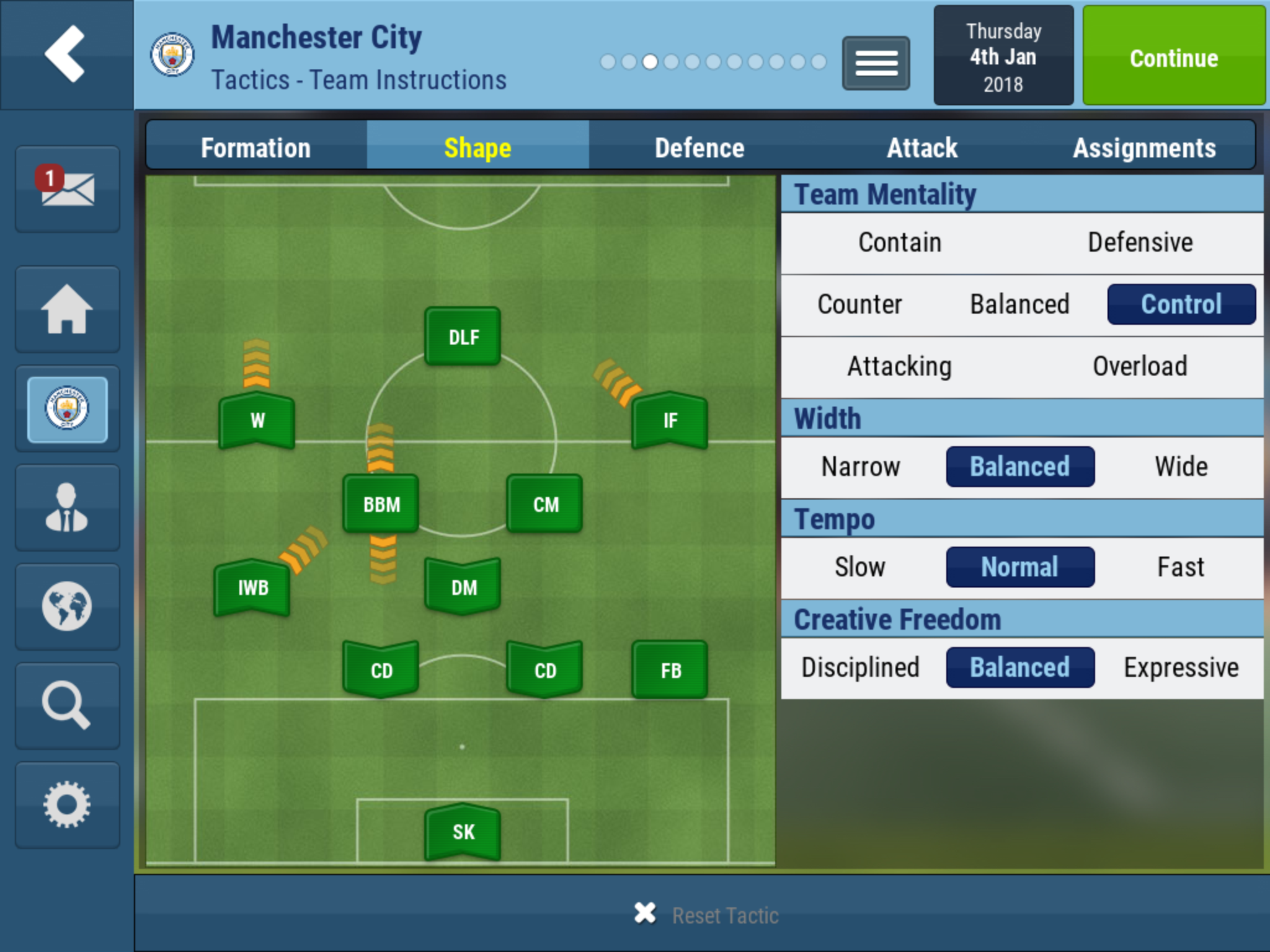 Pep Guardiolas Manchester City tactic - Football Manager