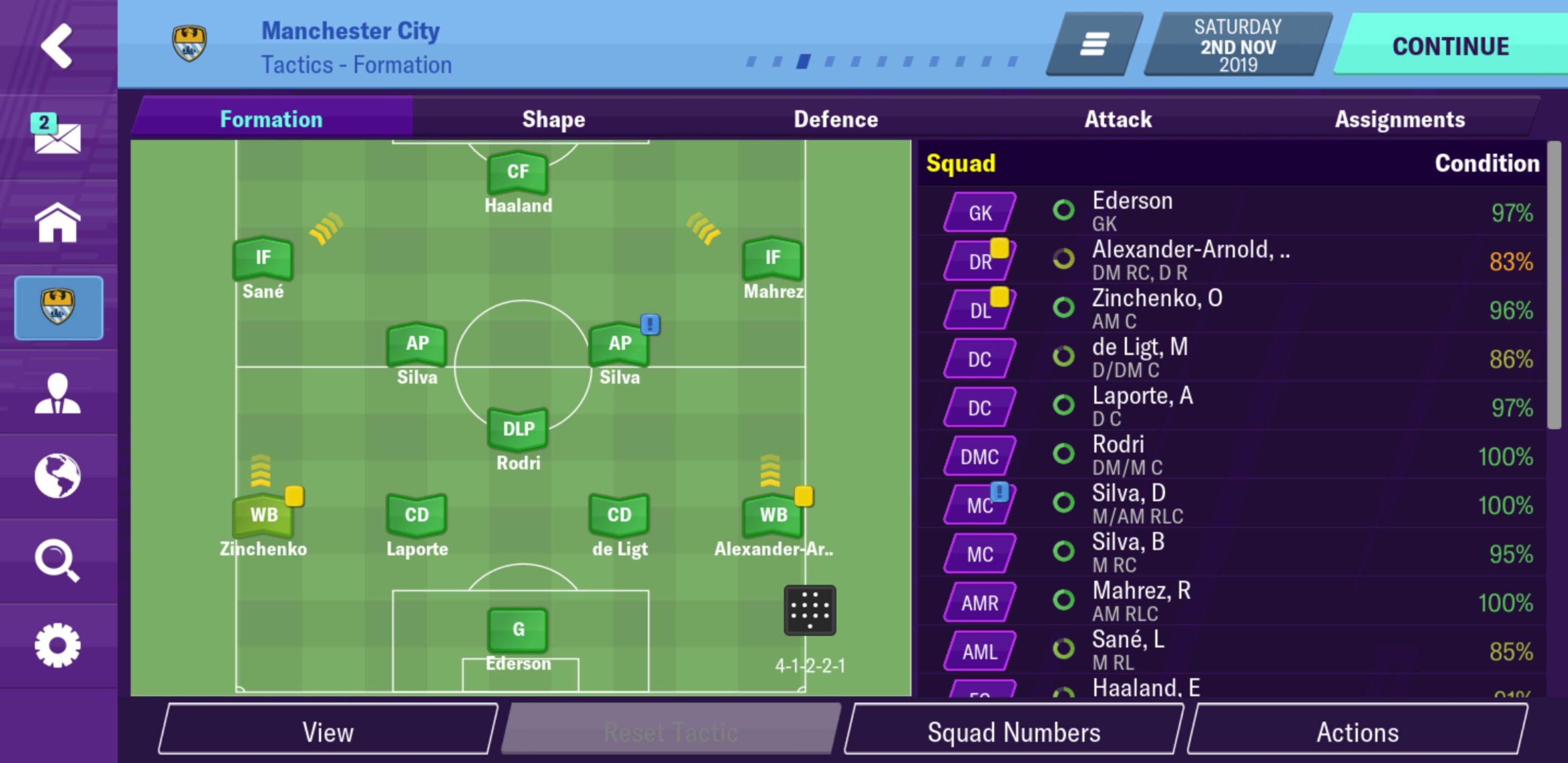 Pep 4 3 3 Attacking Formation With Cleansheet Football Manager 2020 Mobile Fmm Vibe